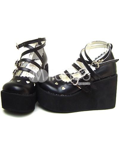 ブラック ロリータ靴 ハイヒール  PU