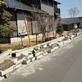 Photos: 倒壊した大谷石の塀
