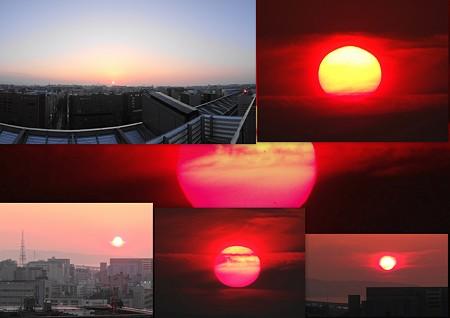 JR博多駅からの夕陽コラージュ