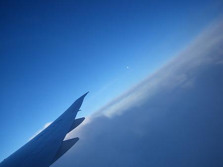遠くに白い月