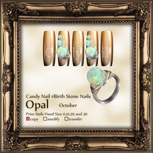 Candy Nail #Birth Stone Nails Opal *October