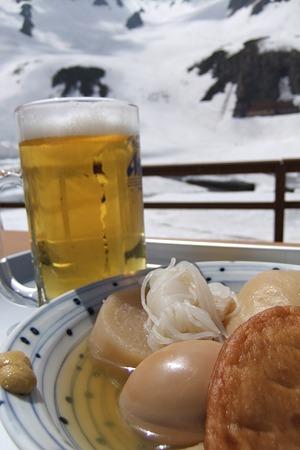 涸沢ヒュッテのおでんと生ビール