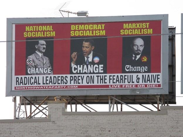 Obama, Hitler, Lenin Billboard by Deb Nicklay